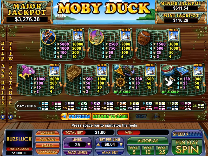 Moby Duck Slot Machine - Play Real Casino Slots Online
